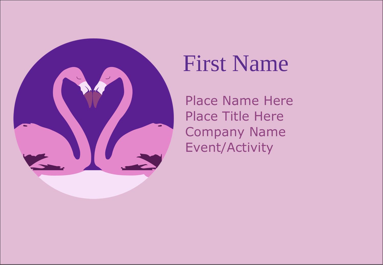 """3⅜"""" x 2⅓"""" Name Badge - Flamingo Heart"""