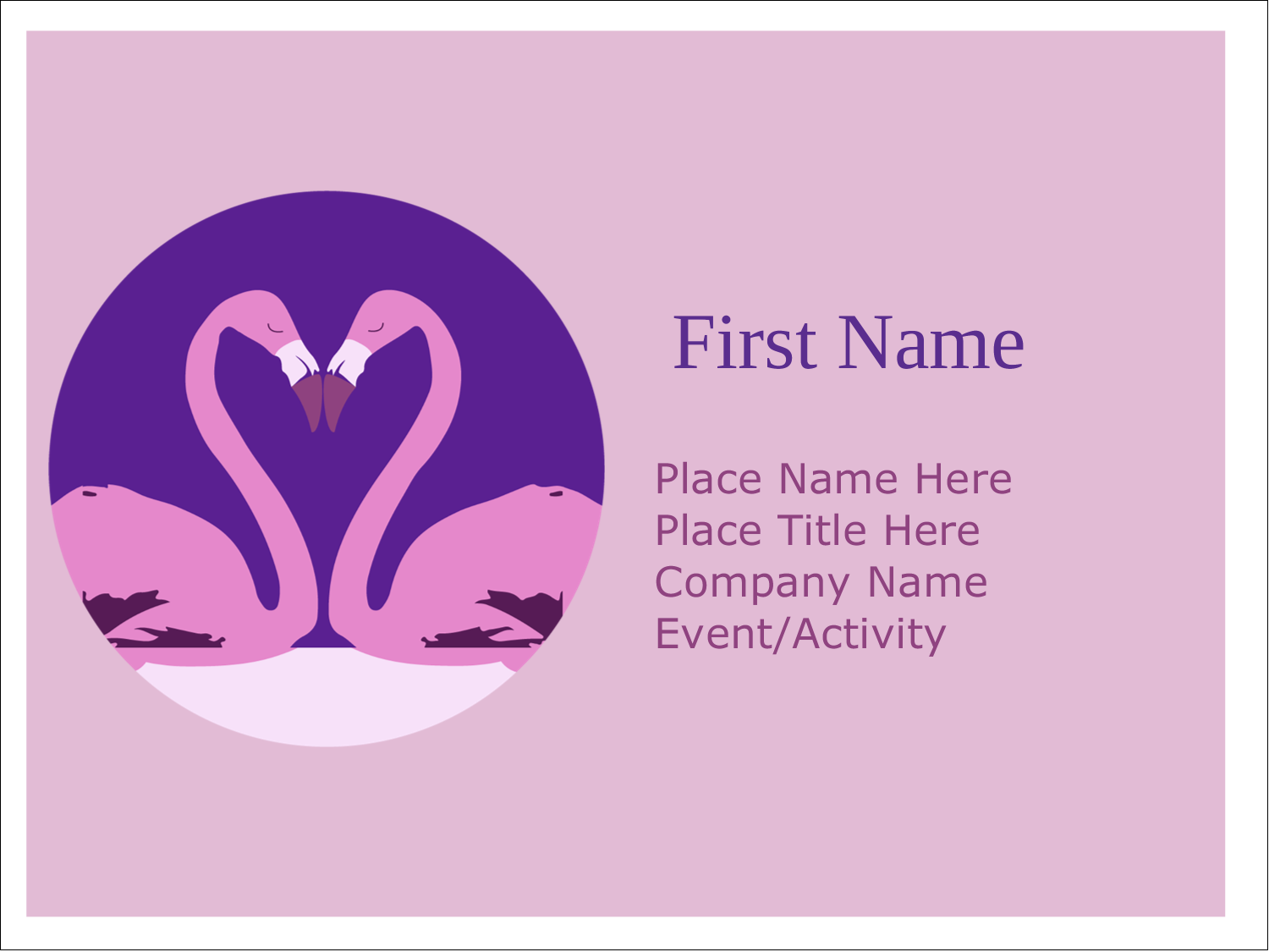 "3"" x 4"" Name Tags - Flamingo Heart"