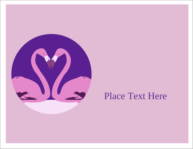 "5½"" x 4¼"" Note Card - Flamingo Heart"