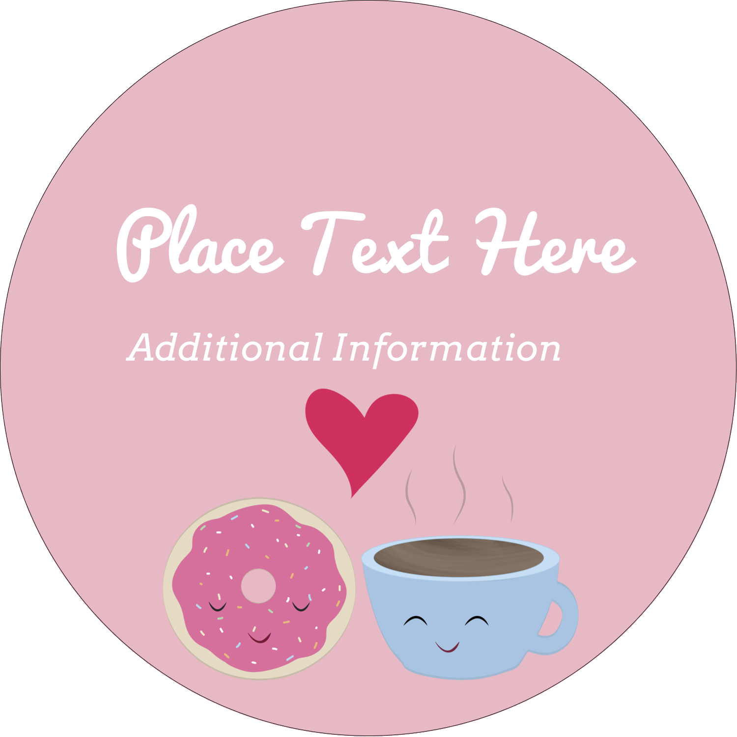 "2½"" Round Label - Sweet Coffee Heart"
