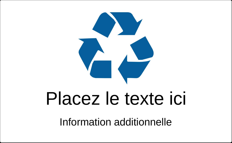 """8½"""" x 11"""" Étiquettes D'Identification - Recyclage industriel bleu"""