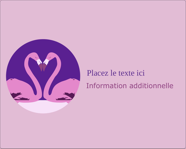 """2"""" Diameter Étiquettes rondes gaufrées - Flamant en forme de cœur"""