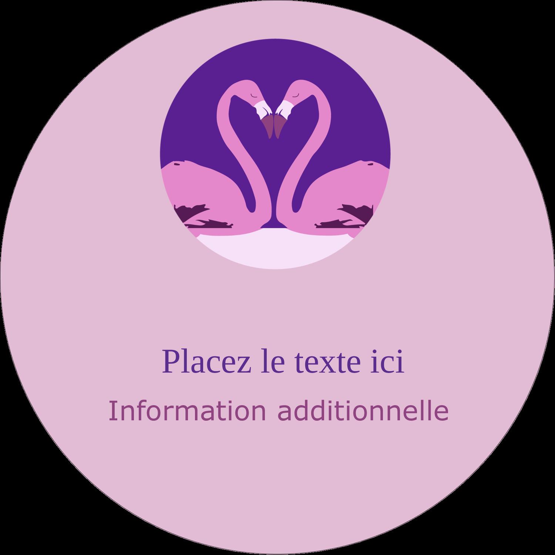 """2½"""" Diameter Étiquettes rondes - Flamant en forme de cœur"""