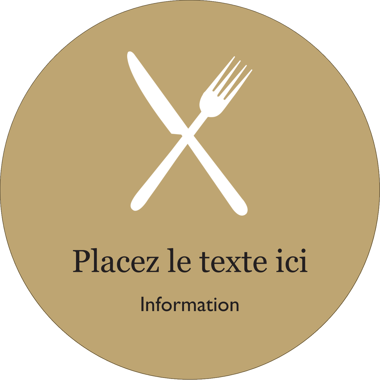 """2½"""" Diameter Étiquettes rondes - Fourchette et couteau"""