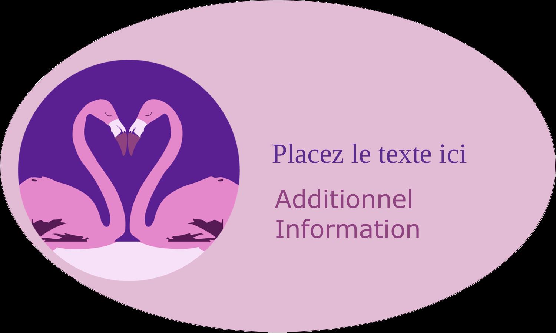"""1½"""" x 1½"""" Étiquettes carrées - Flamant en forme de cœur"""