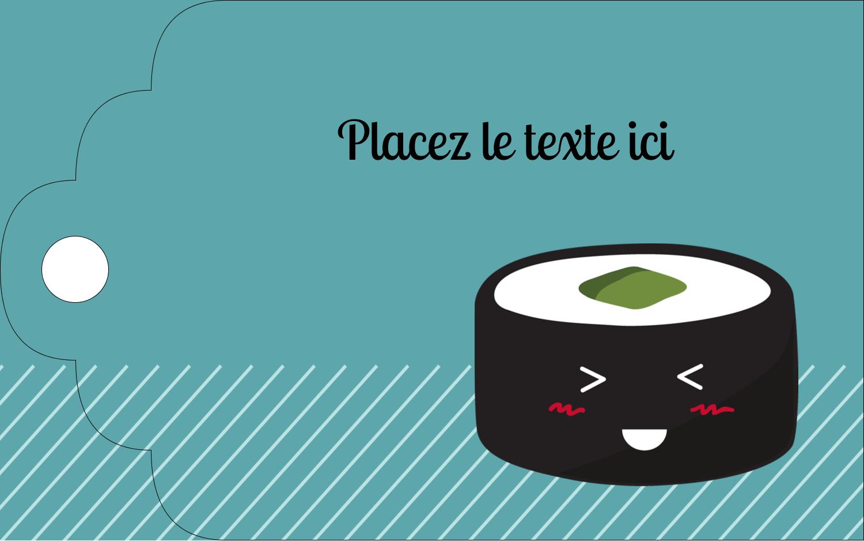 """2"""" x 1⅛"""" Étiquettes imprimables - Émoticônes de sushis"""