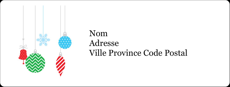 """1"""" x 4"""" Étiquettes d'adresse - Ornements de Noël"""