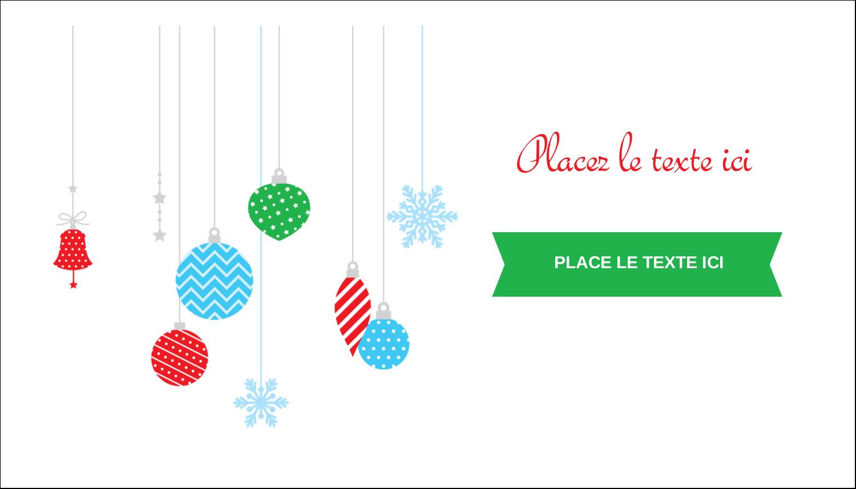 """2"""" x 3½"""" Carte d'affaire - Ornements de Noël"""