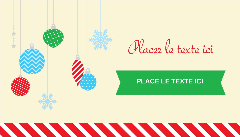 """3½"""" x 2"""" Carte d'affaire - Ornements de Noël"""
