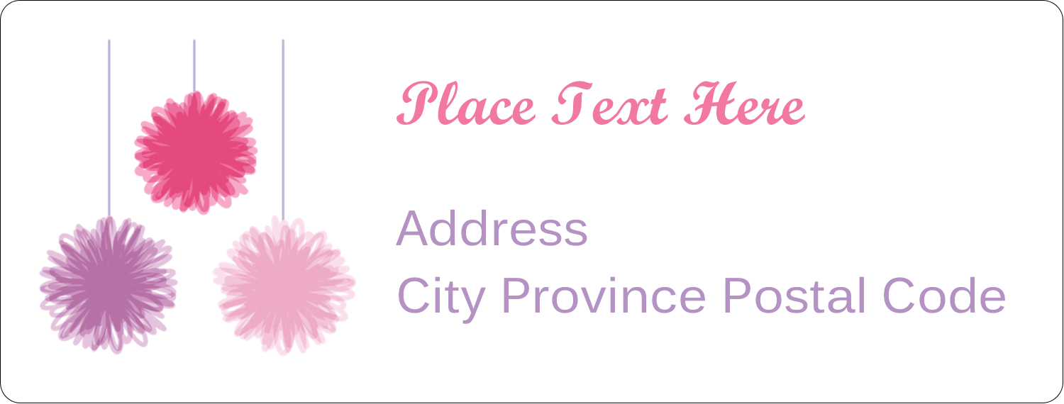 "1"" x 2⅝"" Address Label - Party Poms"