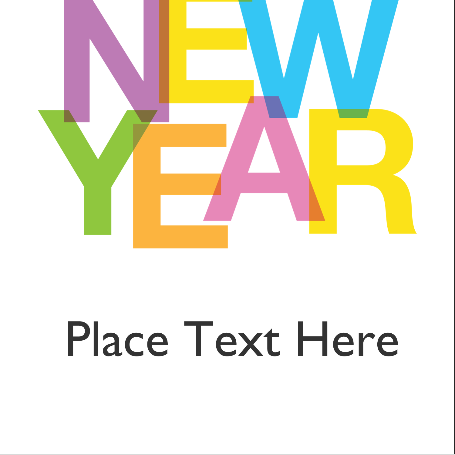 """1½"""" x 1½"""" Square Label - New Years"""