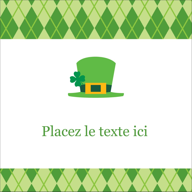 """2"""" x 2"""" Étiquettes carrées - Saint-Patrick"""