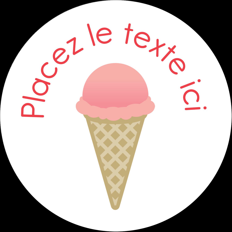 """2½"""" Diameter Étiquettes rondes - Crème glacée sucrée"""