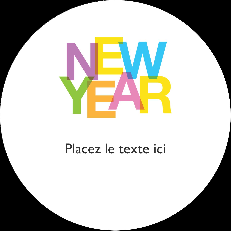 """2"""" Diameter Étiquettes rondes gaufrées - Nouvel An"""