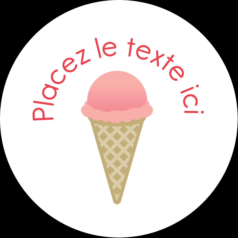 """4¾"""" x 3½"""" Étiquettes arrondies - Crème glacée sucrée"""