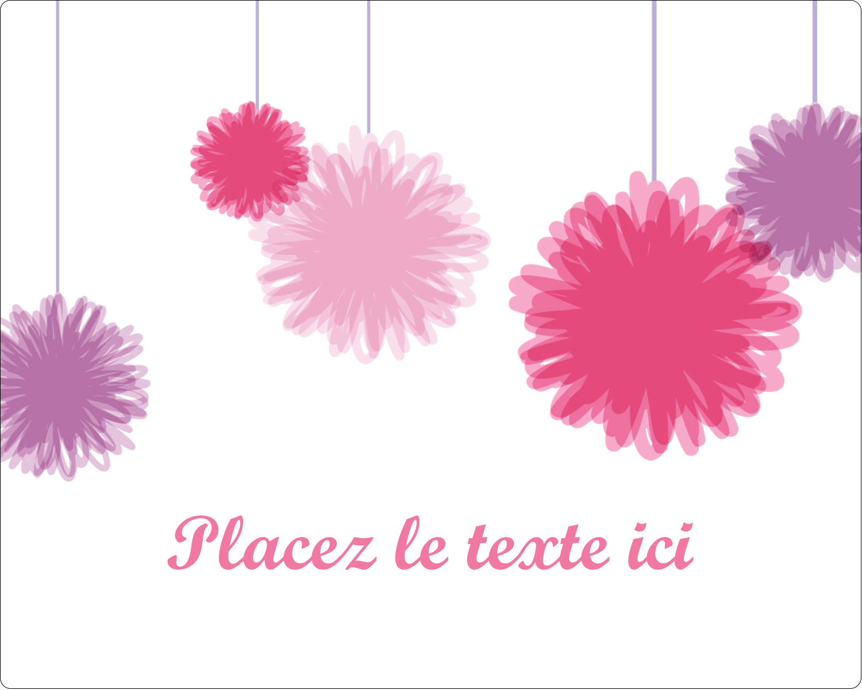 """2"""" Diameter Étiquettes rondes gaufrées - Pompons de fête"""