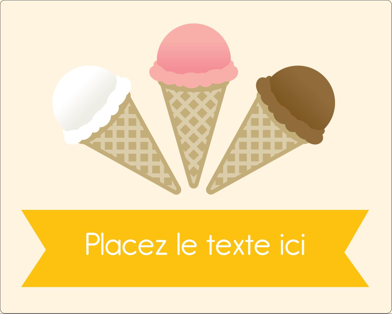 """2"""" Diameter Étiquettes rondes gaufrées - Crème glacée sucrée"""