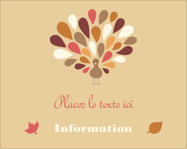 """2"""" Diameter Étiquettes rondes gaufrées - Plumes d'Action de grâces"""