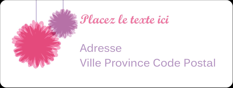 """⅔"""" x 1¾"""" Étiquettes D'Adresse - Pompons de fête"""