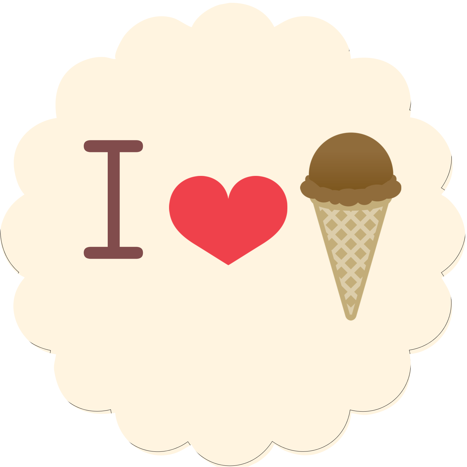 "2½"" Scallop Labels - Sweet Ice Cream"
