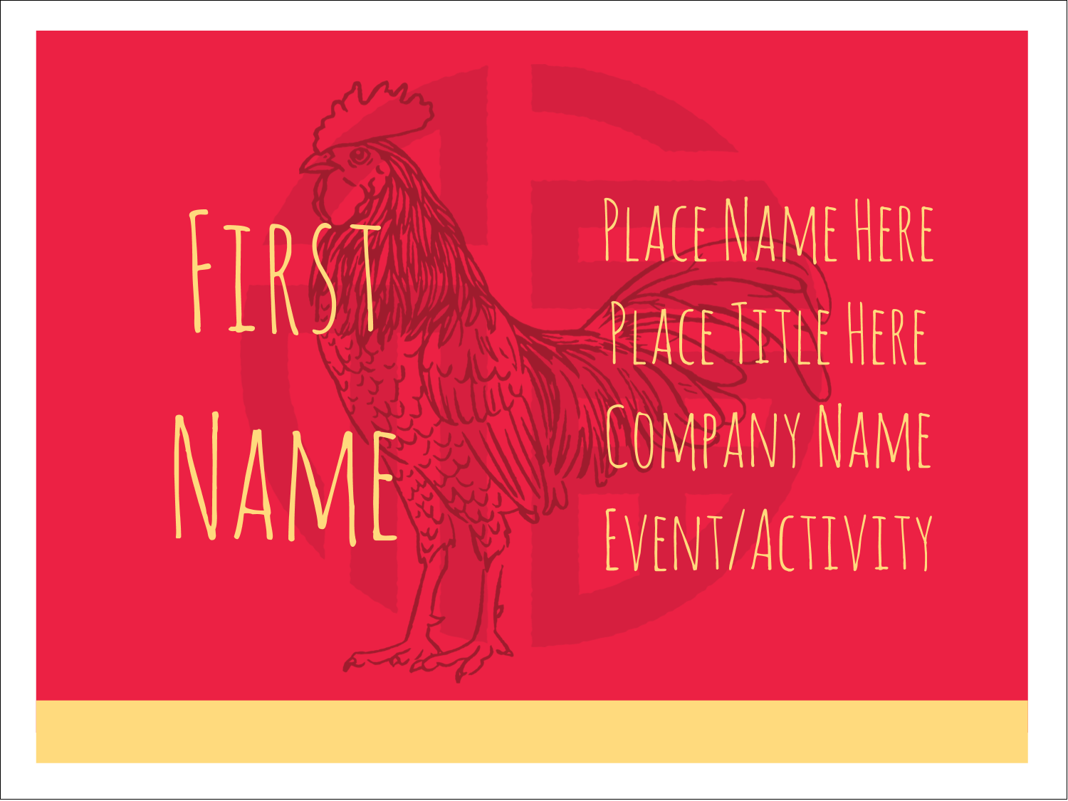 "3"" x 4"" Name Tags - Year of the Rooster"