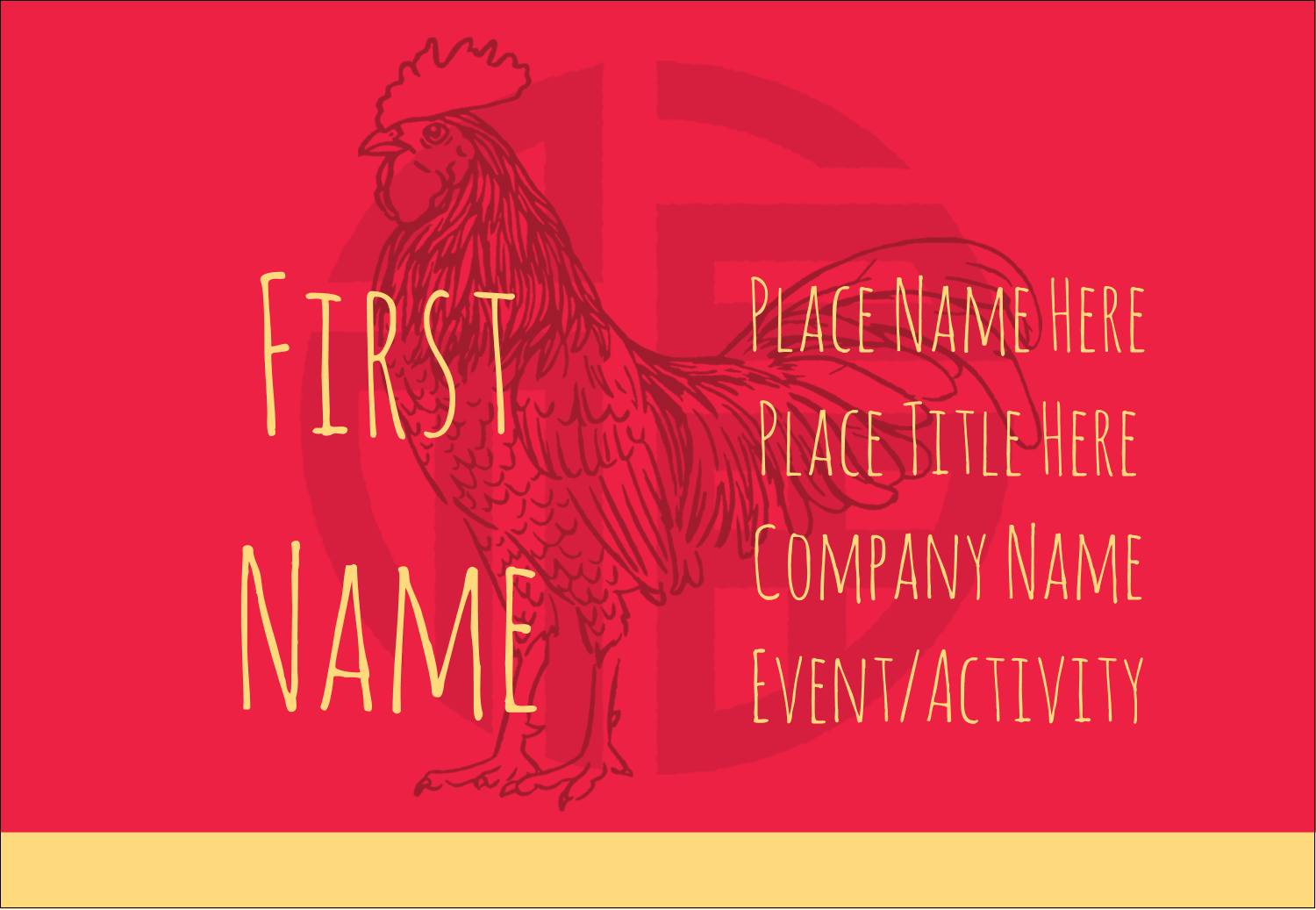 "3⅜"" x 2⅓"" Name Badge - Year of the Rooster"