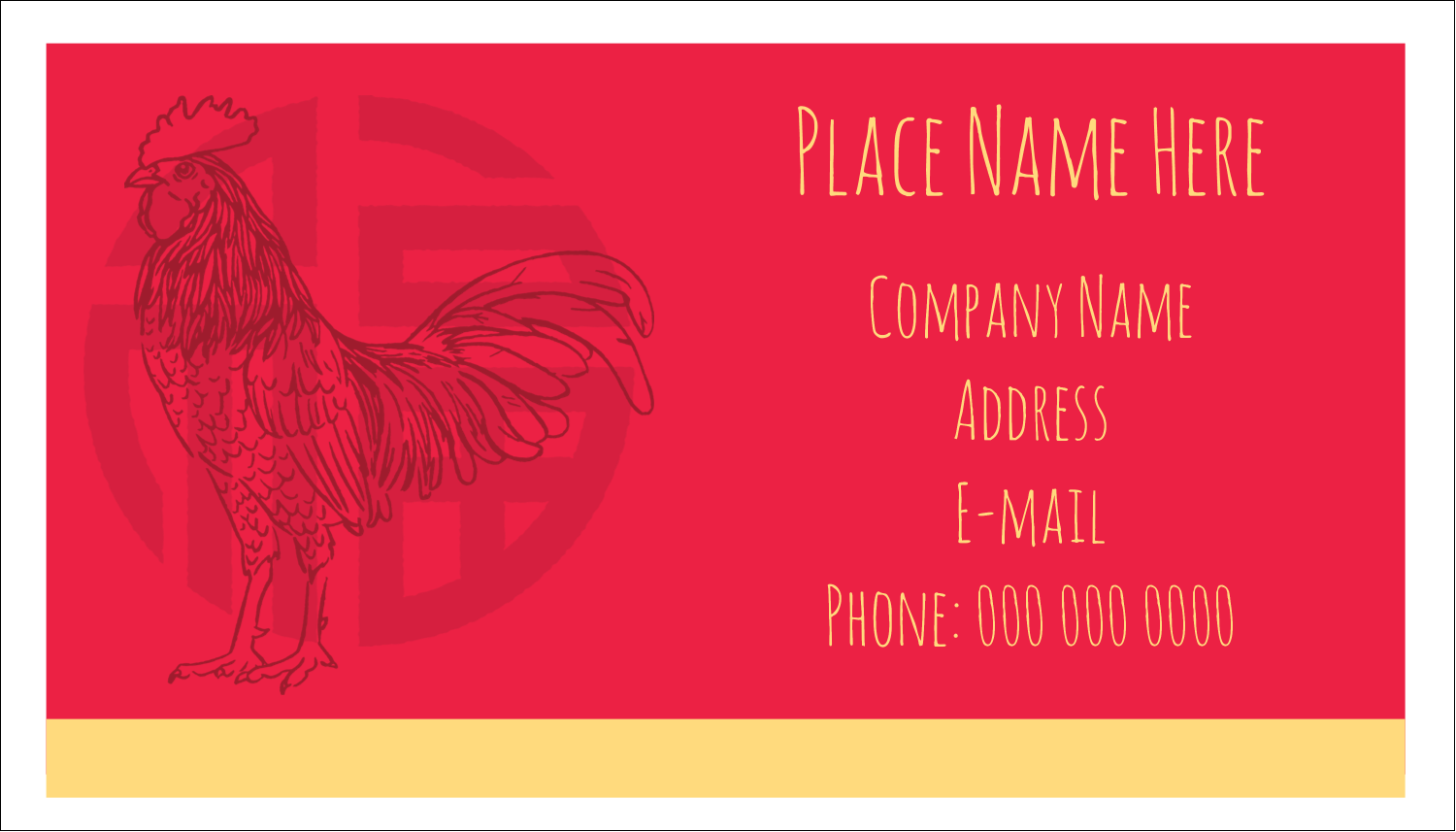"2"" x 3½"" Business Card - Year of the Rooster"