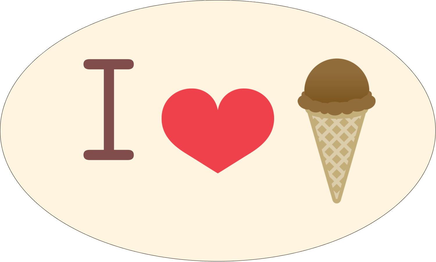 "1½"" x 2½"" Oval Glossy Label - Sweet Ice Cream"