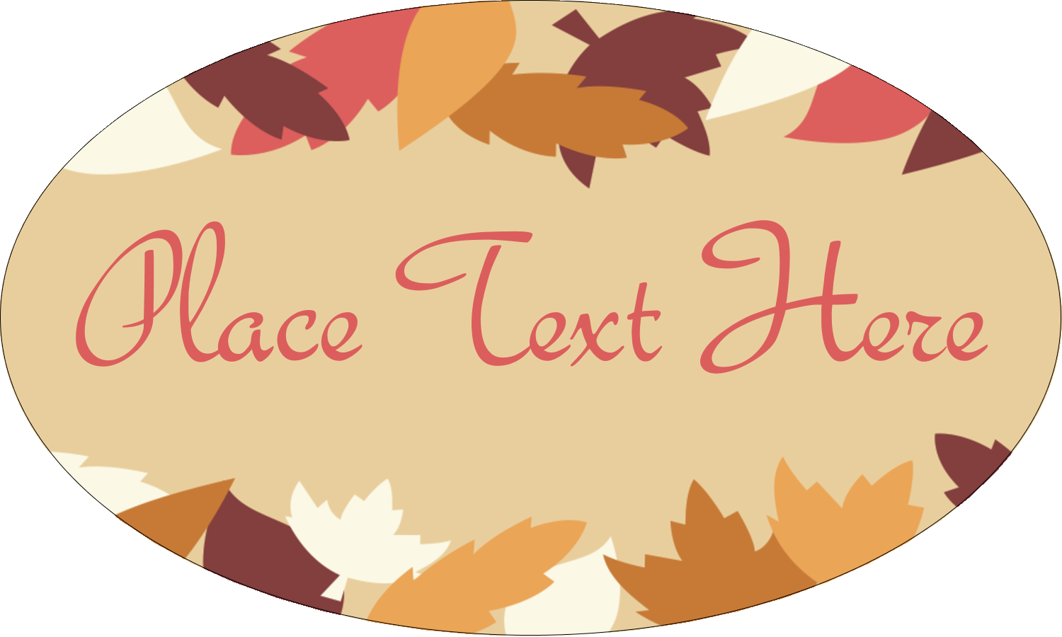 "1½"" x 2½"" Oval Glossy Label - Thanksgiving Fall Feathers"