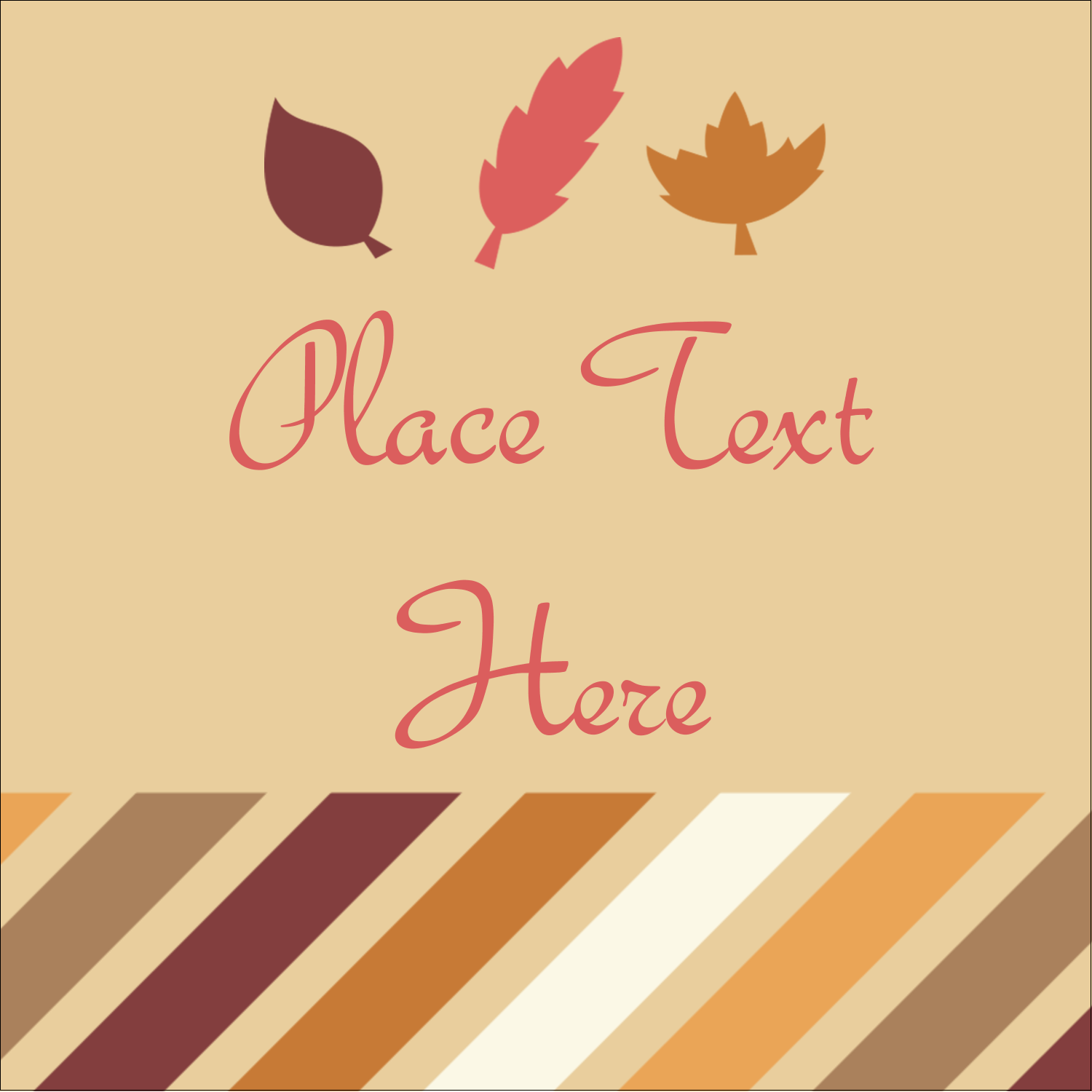 "2"" x 2"" Square Label - Thanksgiving Fall Feathers"