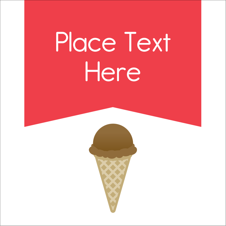 "2"" x 2"" Sqaure Label - Sweet Ice Cream"
