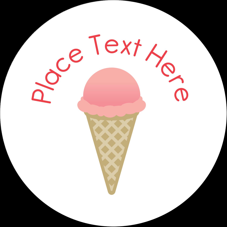 """2"""" Embossed Round Label - Sweet Ice Cream"""
