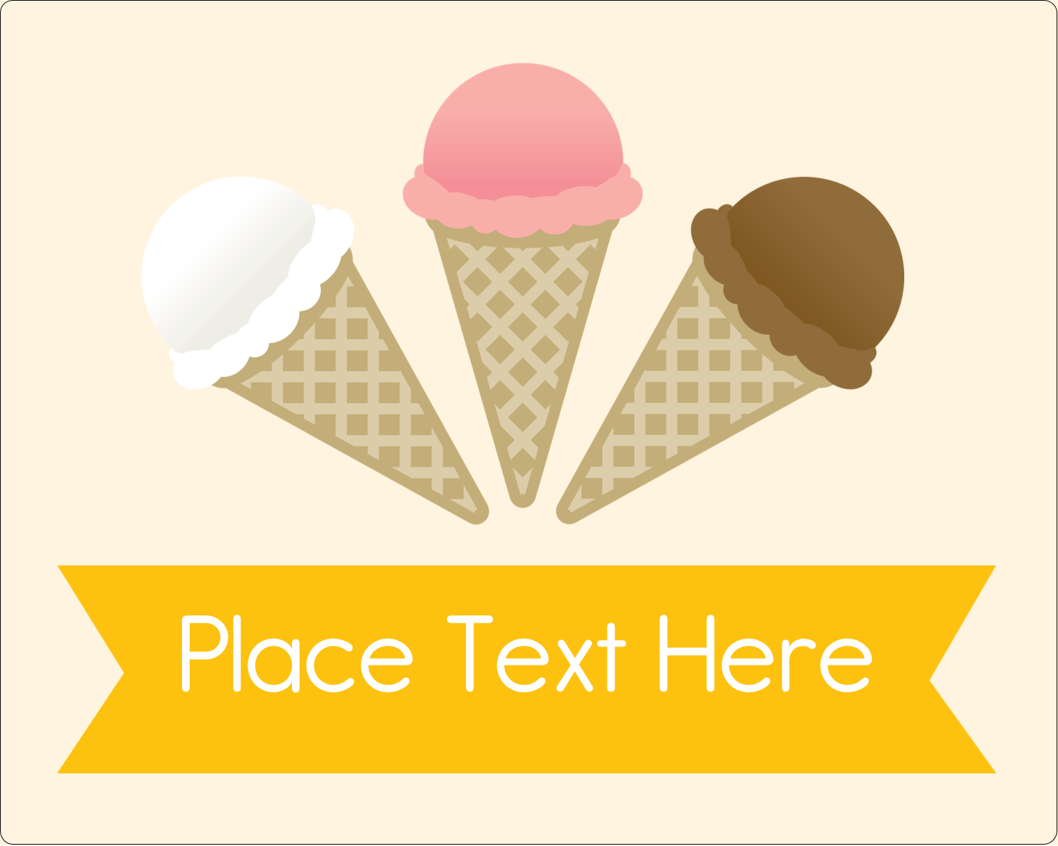 "3"" x 3¾"" Rectangular Label - Sweet Ice Cream"