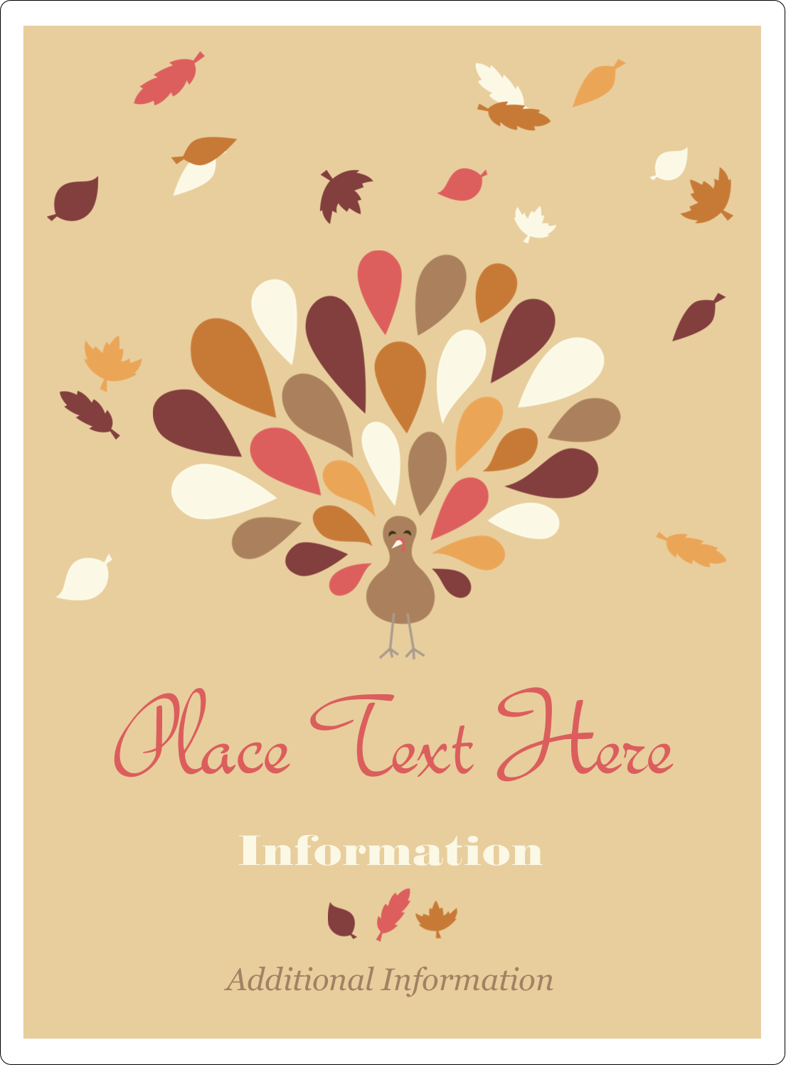 "4¾"" x 3½"" Rectangular Label - Thanksgiving Fall Feathers"