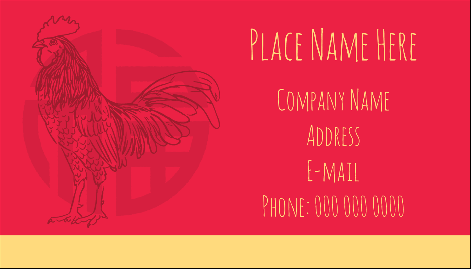 """2"""" x 3½"""" Business Card - Year of the Rooster"""