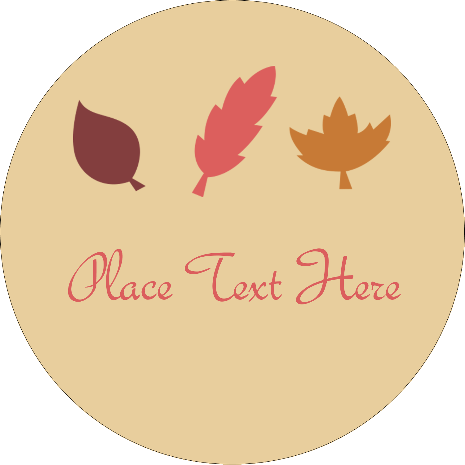 "3"" Round Label - Thanksgiving Fall Feathers"