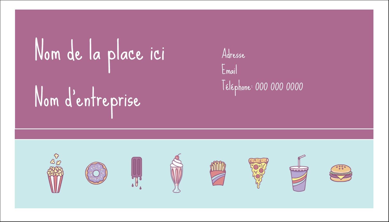"2"" x 3½"" Carte d'affaire - Malbouffe Motif"