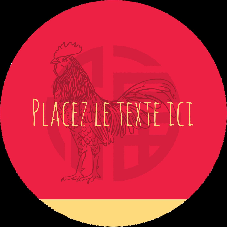 """2¼"""" x ¾"""" Étiquettes Voyantes - Année du coq"""
