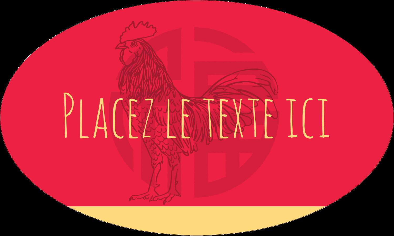 """1½"""" x 1½"""" Étiquettes carrées - Année du coq"""