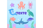 Au cœur de l'océan Étiquettes carrées - gabarit prédéfini. <br/>Utilisez notre logiciel Avery Design & Print Online pour personnaliser facilement la conception.