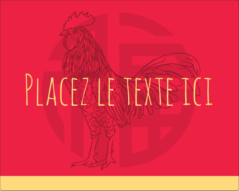 """2"""" Diameter Étiquettes rondes gaufrées - Année du coq"""
