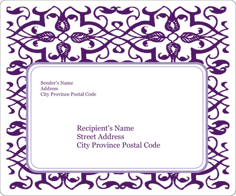 "3⅓"" x 4"" Shipping Label - Purple Swirls Pattern"