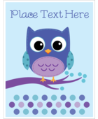 Add youthful, whimsical style to custom projects with pre-designed Owl Dots Blue templates.