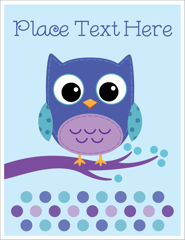 "8½"" x 11"" T-Shirt-Tranfers - Owl Dots Blue"