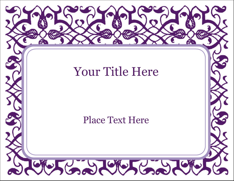 "11"" x 8½"" ID Label - Purple Swirls Pattern"