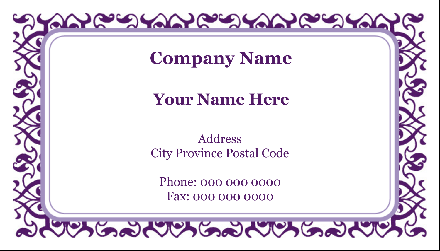 "2"" x 3½"" Business Card - Purple Swirls Pattern"