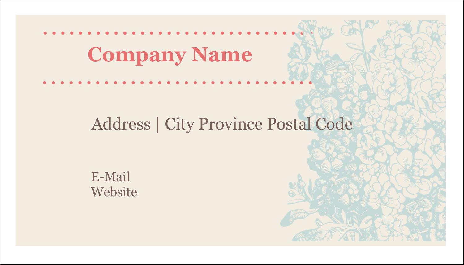 "2"" x 3½"" Business Card - Blue Flower"