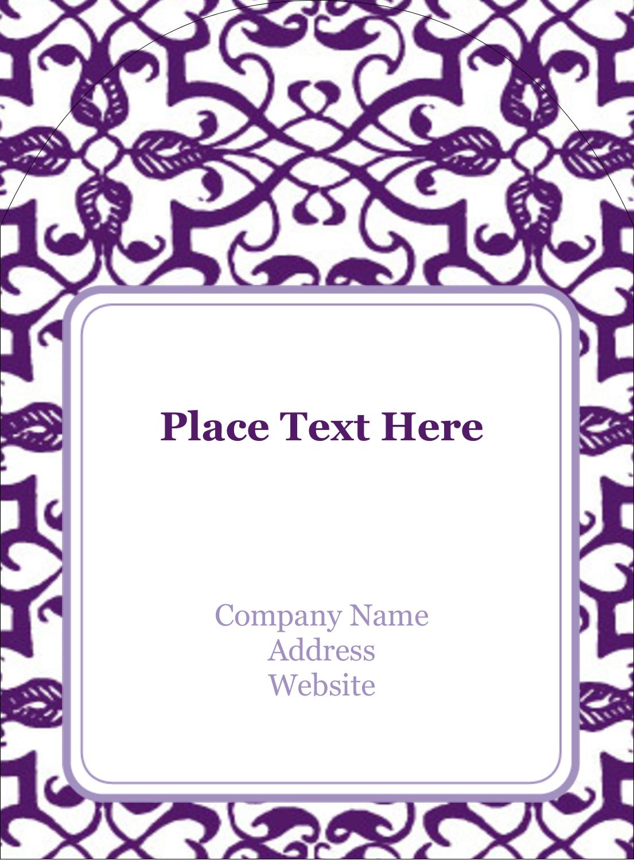 "4¾"" x 3½"" Arched Label - Purple Swirls Pattern"