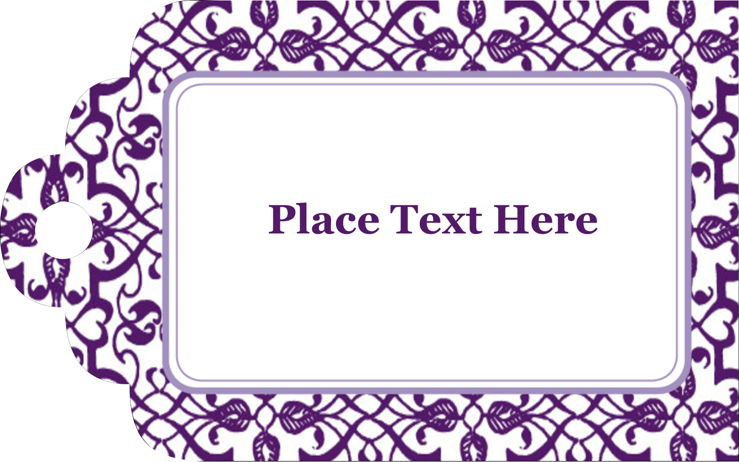 "2"" x 1⅛"" Printable Tags - Purple Swirls Pattern"