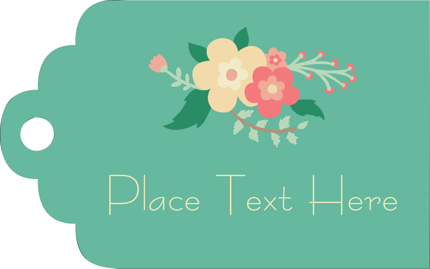 "2"" x 1⅛"" Printable Tags - Floral Wreath"